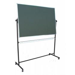 Tablica na stojaku, obrotowa, dwustronna, ceramiczna magnetyczna, zielona 1,00 m  x  1,50