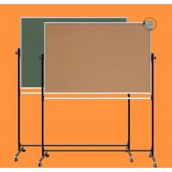 Tablica z korkiem na stojaku, obrotowa, dwustronna, ceramiczna magnetyczna, korek / zielona 1,00 m  x  1,50