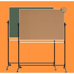 Tablica z korkiem na stojaku, obrotowa, dwustronna, ceramiczna magnetyczna, korek / zielona 1,00 m  x  1,20