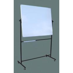 Tablica na stojaku, obrotowa, dwustronna, ceramiczna magnetyczna, biała 1,00 m  x  1,20