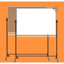 Tablica z korkiem na stojaku, obrotowa, dwustronna, ceramiczna magnetyczna, korek / biała 1,00 m  x  1,50