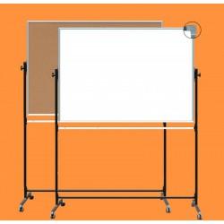 Tablica z korkiem na stojaku, obrotowa, dwustronna, ceramiczna magnetyczna, korek / biała 1,00 m  x  1,20