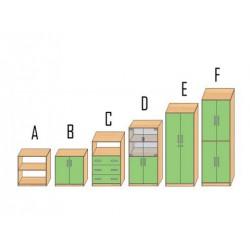 Regał szkolny z szufladami C
