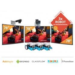 """Zestaw 9- 3x Tablica Interaktywna 78"""" z projektorami krótkoogniskowymi+ 3x Robot – Makeblock"""