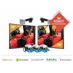 """Zestaw 11- Zestaw 2x Tablica Interaktywna 78"""" Promethean z projektorami krótkoogniskowymi+ 3x Robot Makeblock"""