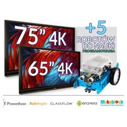 "Zestaw Monitor 36- Monitor Promethean 65"" 4K z Androidem 8.0 + monitor Promethean 75"" 4K z Androidem + 5 robotów"