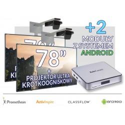 """Zestaw Tablica 5- 2x Tablica interaktywna 78""""  z systemem Android i z projektorem ultrakrótkoogniskowym"""